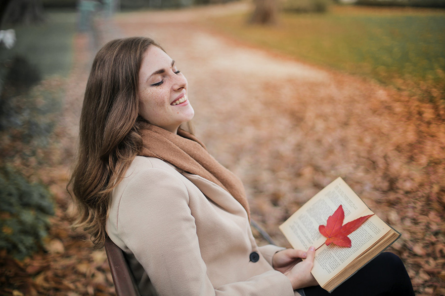 A Leaf Being Used as a Bookmark