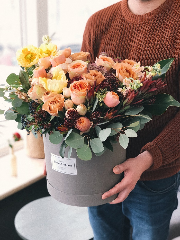 flowers in a gift basket